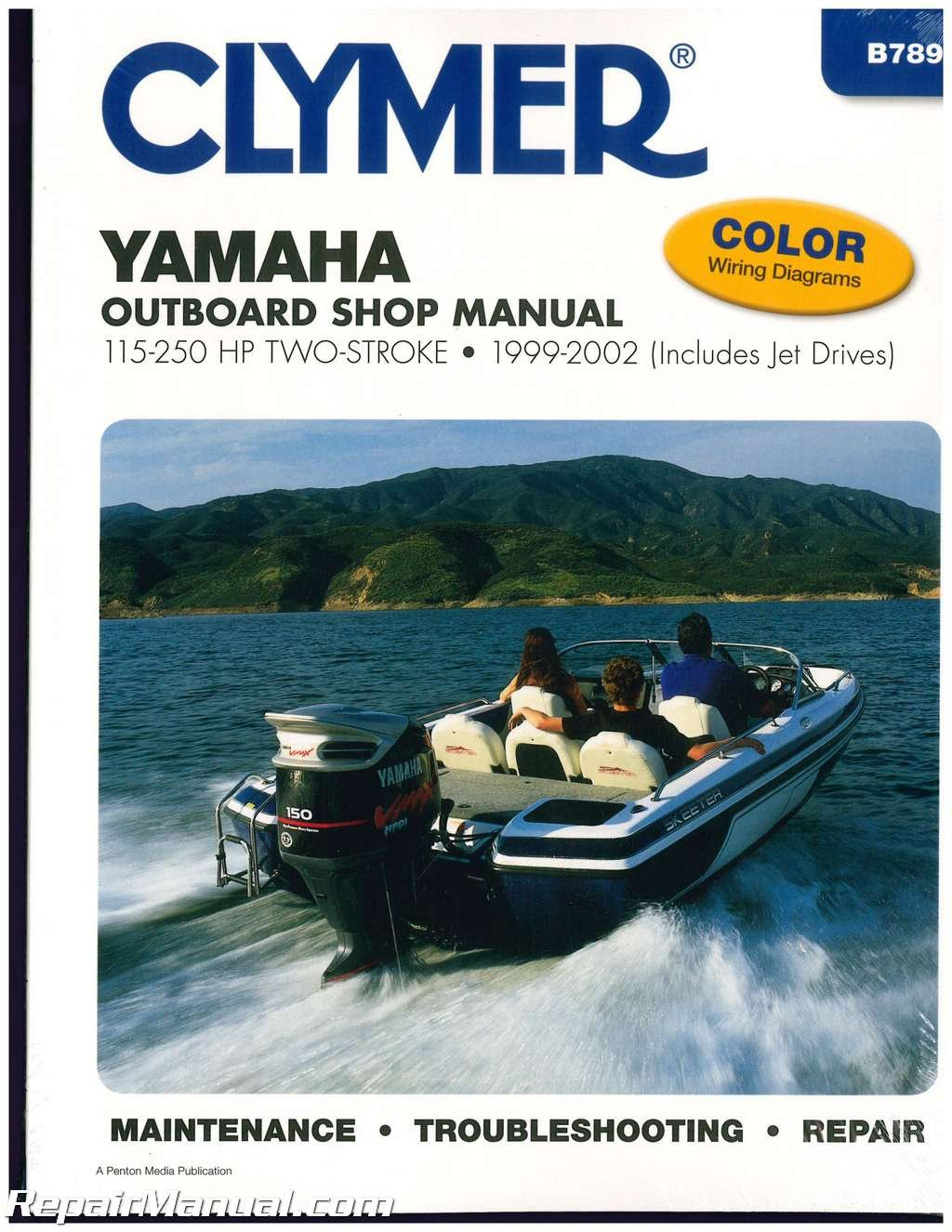 B789 Clymer Yamaha 115 250 Hp Two Stroke Outboards 1999 2002 Boat 200 Hpdi Wiring Diagram Repair Manual Manufacturer Books