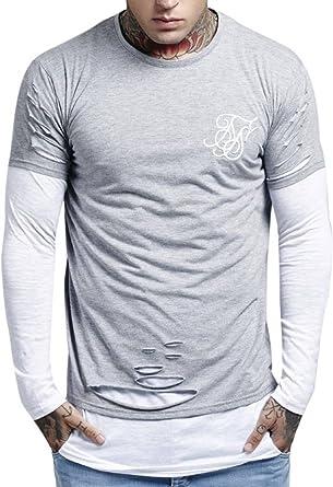 SikSilk - Camiseta - Manga Larga - para hombre gris gris y ...