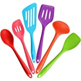 6-Piece Silicone Cooking Set - 2 Spoons, 2 Turners, 1 Spoonula / Spatula & 1 Ladle - Heat Resistant Kitchen Utensils (Multicolor)