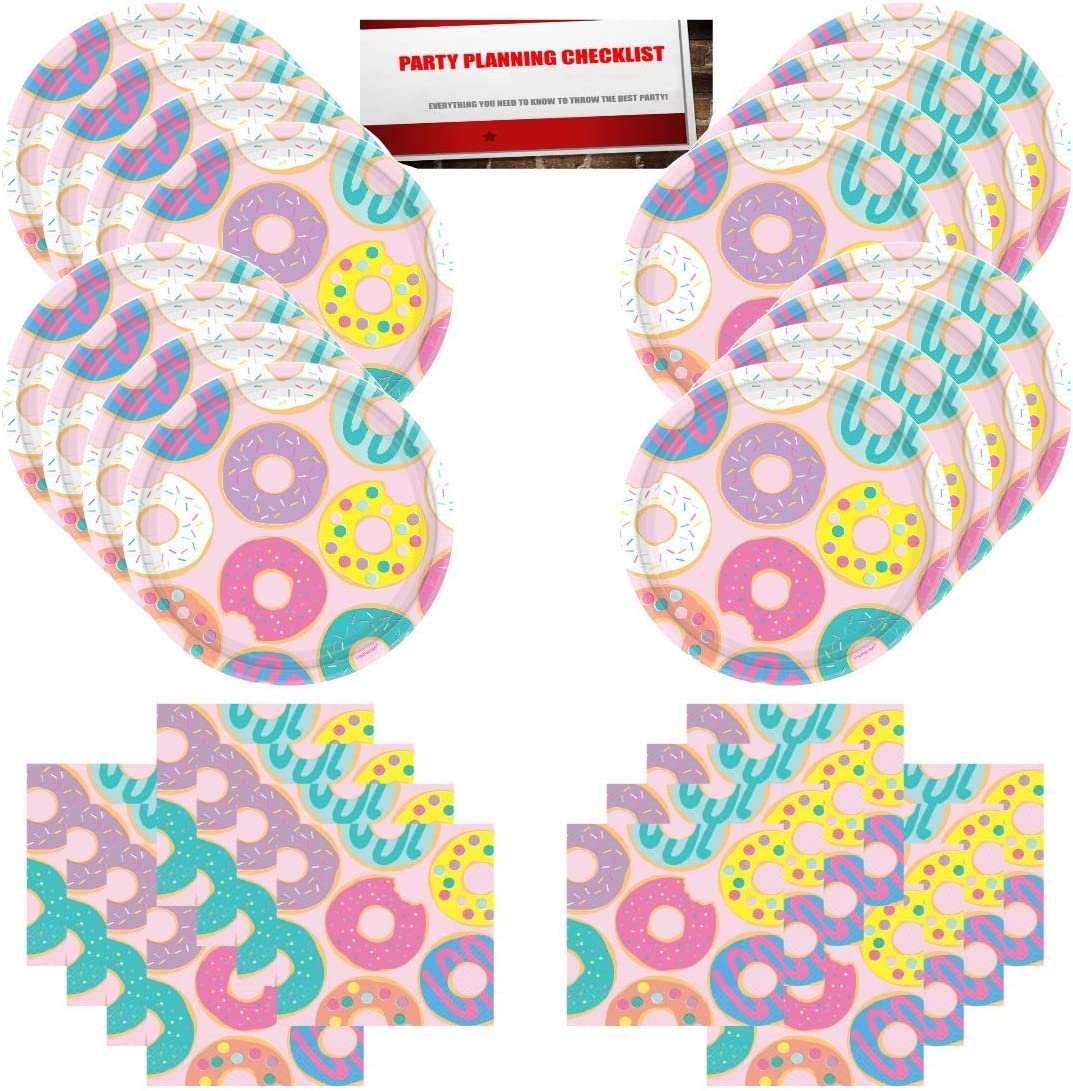 Plus Party Planning Checklist by Mikes Super Store Donut Sprinkles Birthday Party Supplies Bundle Pack for 16 Guests