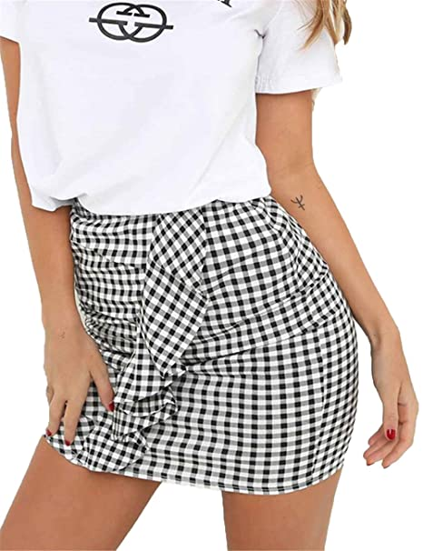 59c84e91b89 Haola Women s Plaid Ruffle Skirt Summer Casual High Waist Mini Bodycon  Skirts Blackwhite Lattice S