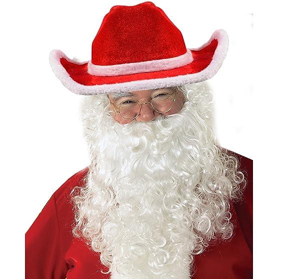 Amazon.com  Funny Party Hats Santa Hats with Beard - Cowboy Santa Hat with  Beard - Santa Beard - Santa Costume  Clothing e968f0d687fd