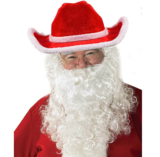 Amazon.com  Funny Party Hats Santa Hats with Beard - Cowboy Santa Hat with  Beard - Santa Beard - Santa Costume  Clothing 7030b0e96e2