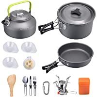 G4Free Camping Cookware Mess Kit Lightweight Pot Pan Kettle Fork Knife Spoon Kit for Backpacking Outdoor Hiking Picnic