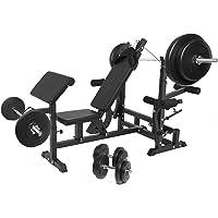 Gorilla Sports® Banc de Musculation Universal avec Set d´haltères Plastiques 100 kg Blanc/Noir- Barre Longue, Courte et Curl + disques Plastiques + bagues de Serrage
