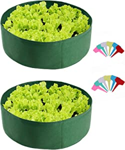 WDDH 2Pack Fabric Raised Planting Bed, 50 Gallon Round Raised Planter Grow Bag with 12 Plant Lables, (Diameter 24''/ Height 8''), Felt Raised Planter Pots for Herb Vegetable Plant