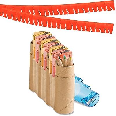 Partituki Pack de 10 Sets de Lápices de Colores. Cada Uno con 6 Lápices, 1 Sacapuntas y una Guirnalda Roja de 20 m. Regalos y Detalles de Fiestas Infantiles: Oficina y papelería