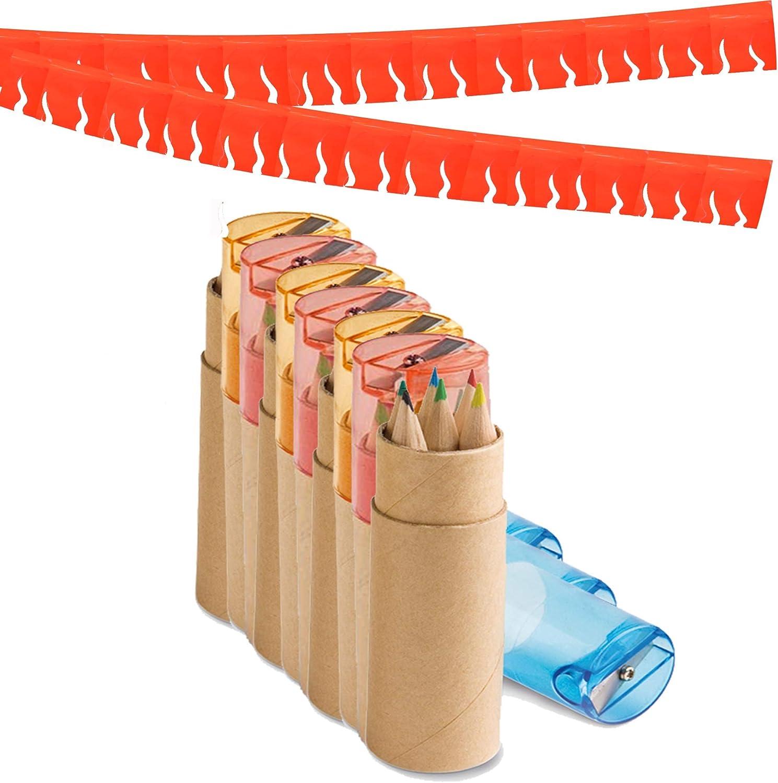 Partituki Pack de 20 Sets de Lápices de Colores. Cada Uno con 6 Lápices, 1 Sacapuntas y una Guirnalda (Color Aleatorio) de 20 m. Regalos y Detalles de Fiestas Infantiles