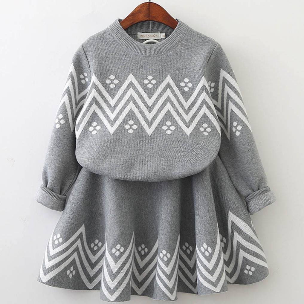 cad6b9de6fe6b8 Amazon.com  Toddler Kids Baby Girl Skirt Sets Knitted Sweater Tops+Skirt  Set Dress (3Years