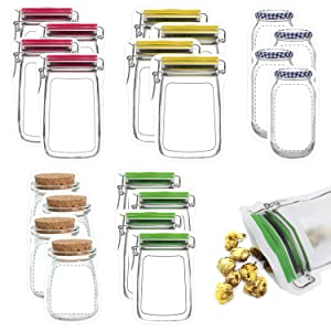 20 Pack Mason Jar Zipper Bags, Food Storage Snack Sandwich Zipper Bags, Reusable Airtight Seal Food Storage Bags, Leak-Proof Food Saver Bags for Travel Camping and Kids