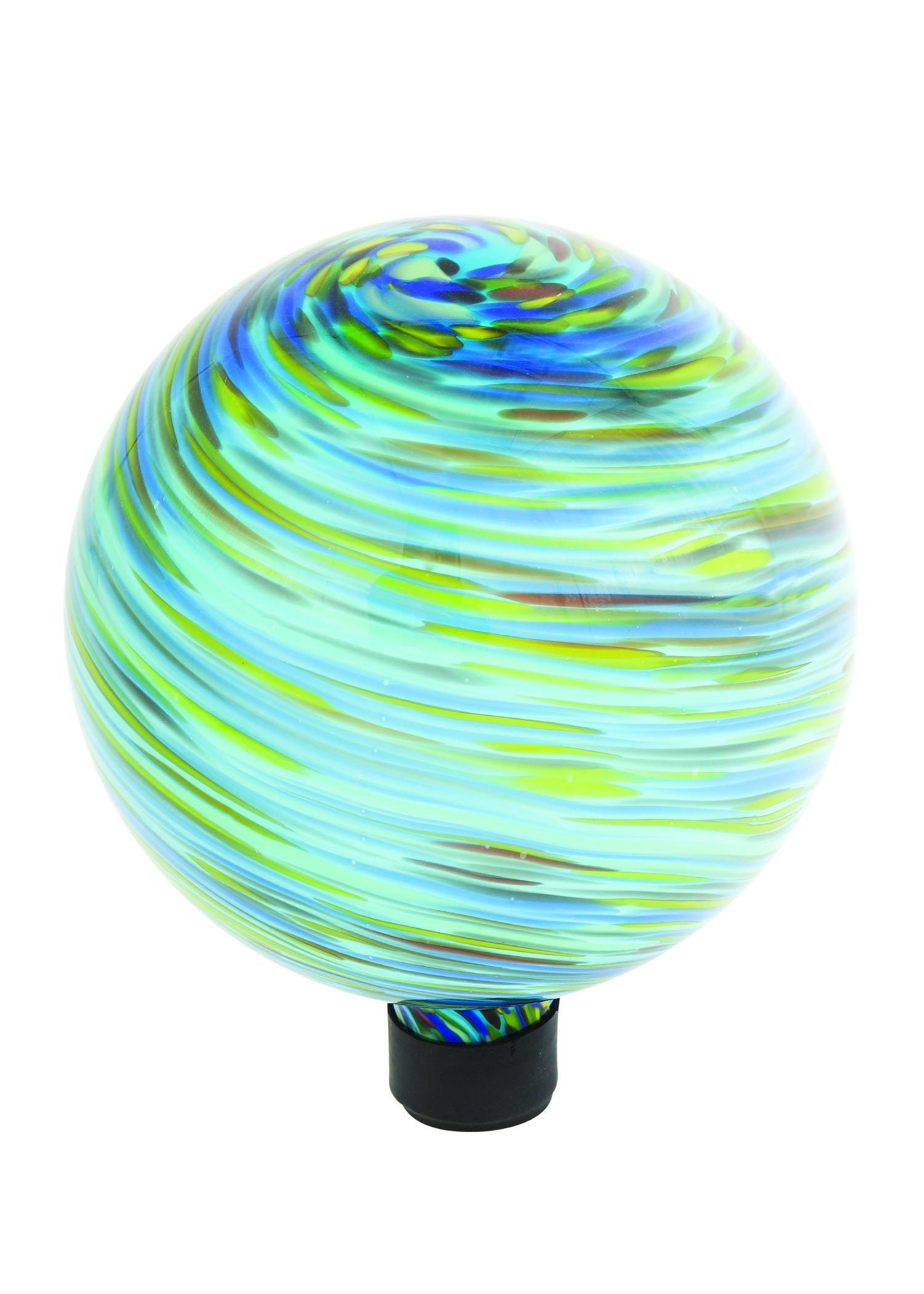 Russco III GD137197 Glass Gazing Ball, 10'', Blue Swirl