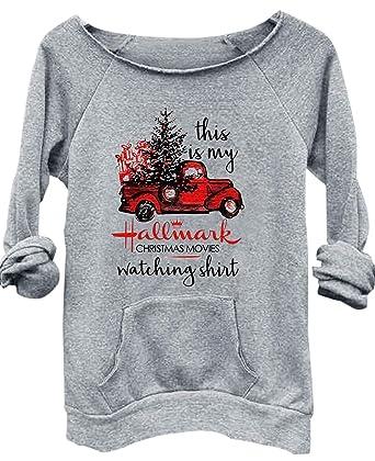 Hallmark Christmas Shirt.This Is My Hallmark Christmas Movies Watching Shirt Sweatshirt Tops Women Xmas Truck Printed Pullover Tees