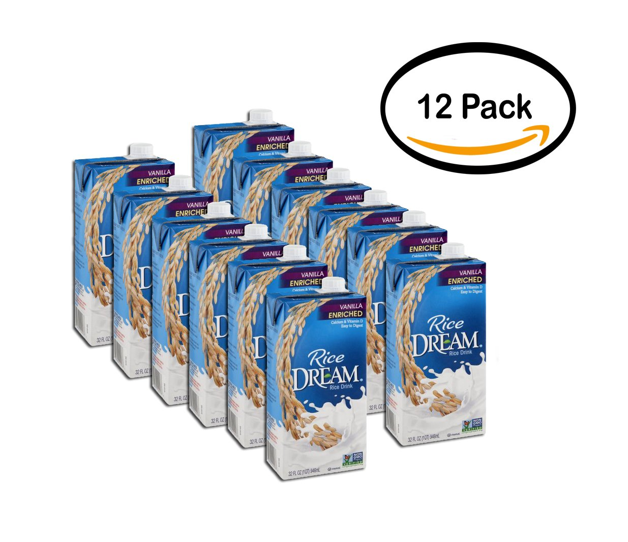 PACK OF 12 - Rice Dream Rice Drink Enriched Vanilla, 32.0 FL OZ
