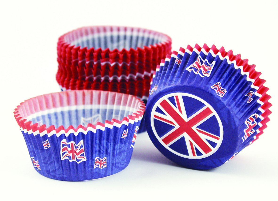 Amscan International 994921 Great Britain Cupcake Cases, Red/White/Blue