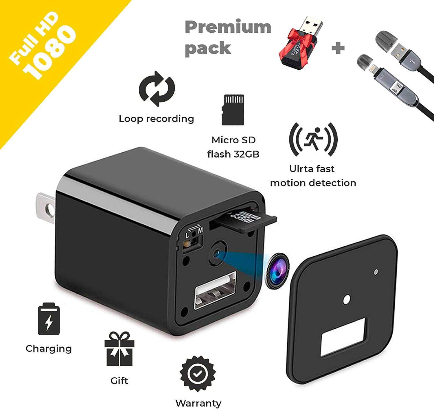 Spy Camera - HD 1080P Hidden Camera USB Wall Charger - Premium Pack - USB Hidden Cameras – Best Mini Spy Camera Charger Wireless Video Recorder Home Security System - Motion Detector Nanny Camera