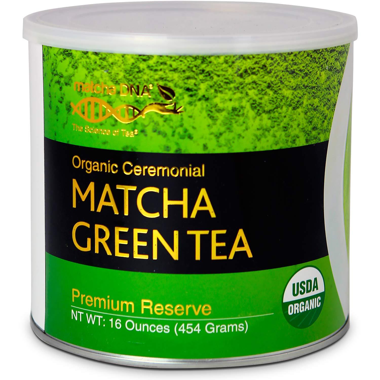 MatchaDNA Certified Organic Ceremonial Grade Matcha Green Tea, TIN CAN (16 Ounce Tin)