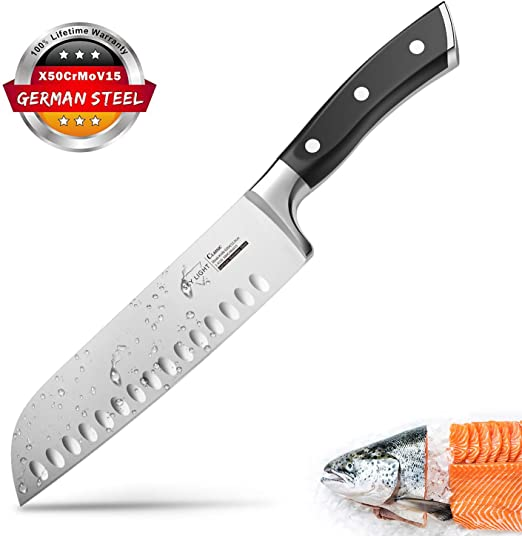 Santoku Knife Kitchen Knife Professional Japanese Chef Knife, 7 Inch Sharp Blade with Hollow Edge, Full Tang Forged by German HC Stainless Steel with ...
