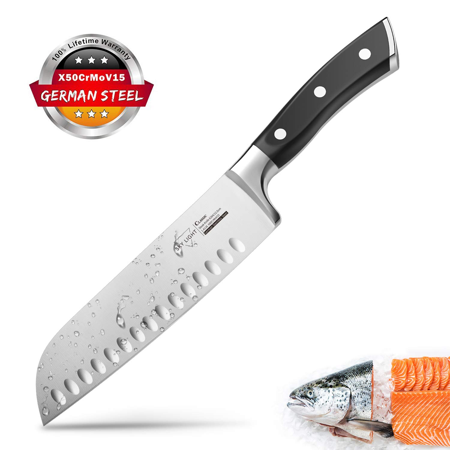 Santoku Knife Kitchen Knife Professional Japanese Chef Knife, 7 Inch Sharp Blade with Hollow Edge, Full Tang Forged by German HC Stainless Steel with Ergonomic Handle by SKY LIGHT