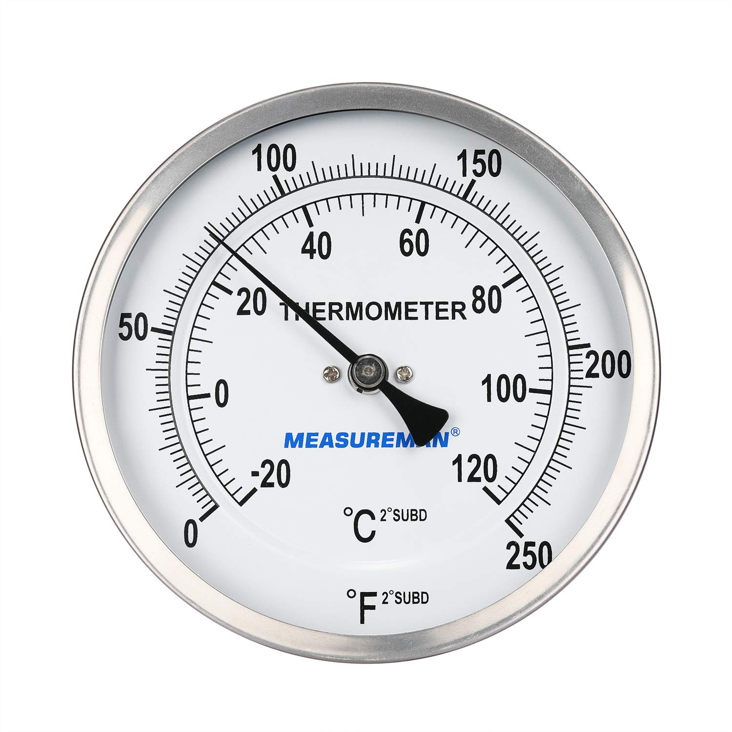 Measureman Every Angle Fully Stainless Steel Pot, Kettle, Brewing Dial Industrial Bimetal Thermometer, 5