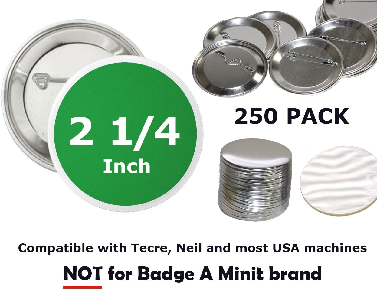 Neil Enterprises Pin Back Button Parts for Use with Machine Pack of 500 2.25 Inch