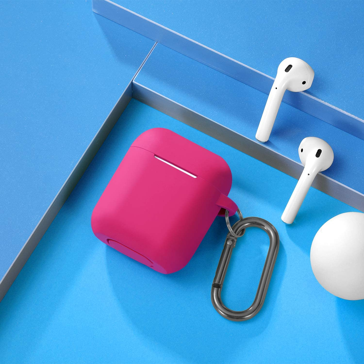 Silicone Shockproof Protective Airpod Skin Cover Waterproof BlueGray Front LED Visible Maledan Compatible with Airpods Case 2 /& 1 Support Wireless Charging with Carabiner