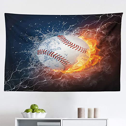 Amazon Com Lunarable Sports Tapestry Baseball Ball On Fire And Water Flame Splashing Thunder Creative Art Fabric Wall Hanging Decor For Bedroom Living Room Dorm 45 X 30 Blue Burgundy Home Kitchen
