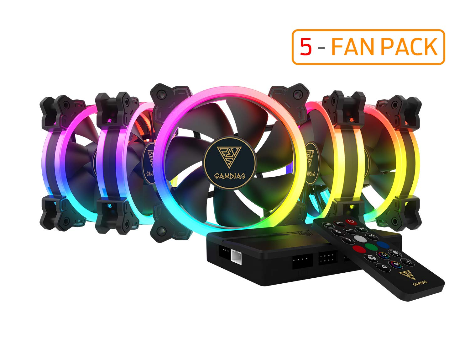 GAMDIAS RGB Case Fan 120mm Dual Light Loop Motherboard Sync with Remote Control Color - Five Fan Pack Cooling Aeolus M1-1205R