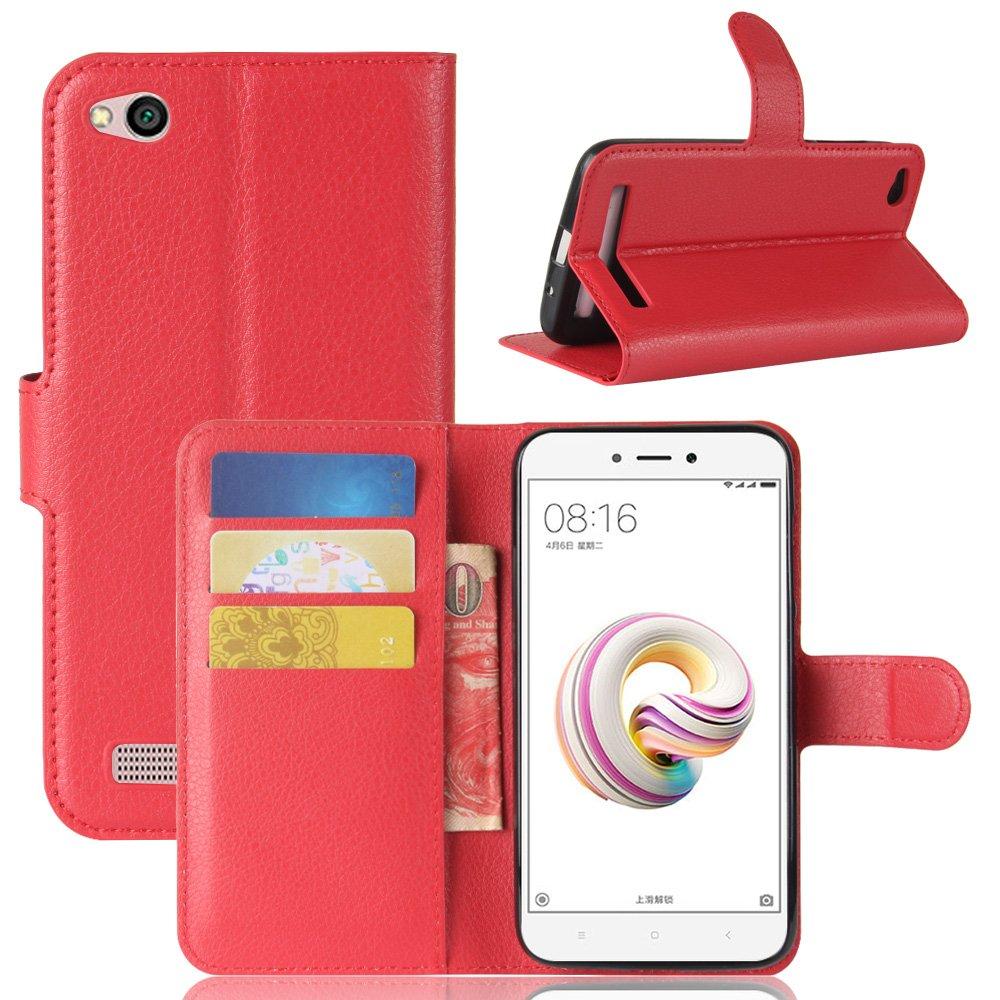 Custodia per Xiaomi Redmi 5A, 95street Custodia Portafoglio in pu Pelle, Portafoglio Cover con Porta Carte, Funzione Stand, Chiusura Magnetica Per Xiaomi Redmi 5A,Rose