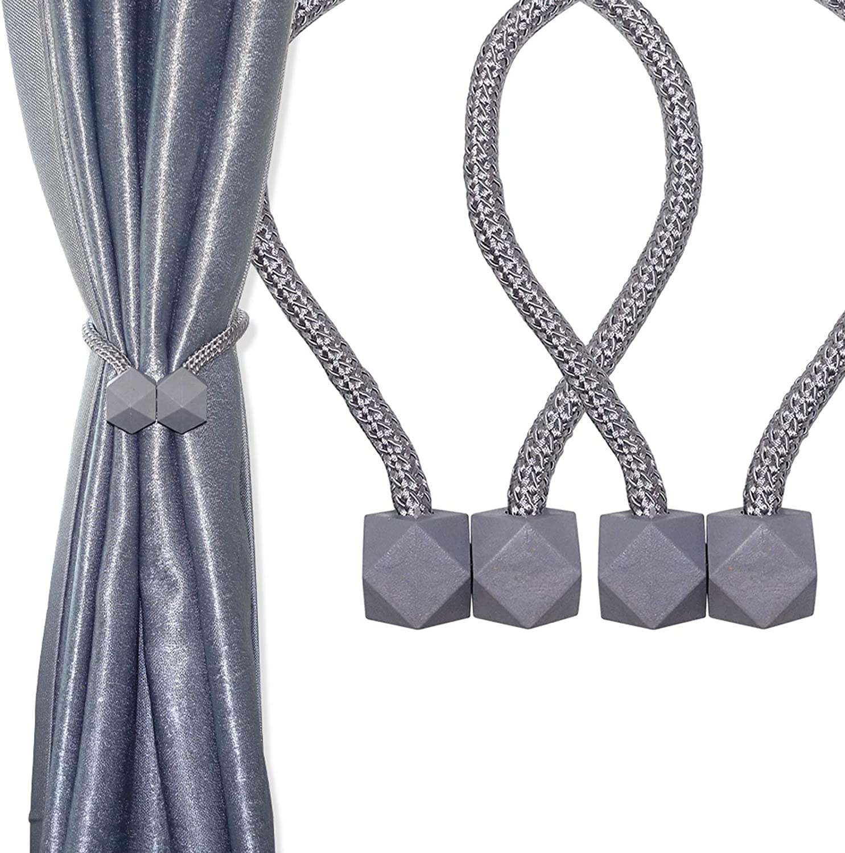HHGZON 2PCS Magnetic Curtain Tiebacks Wheat Straw Material Diamond Style Braided Adjustable Rope Curtain Holdbacks Modern Design for Window Decor Darpery Curtain Accessories 18 inch (Gray)