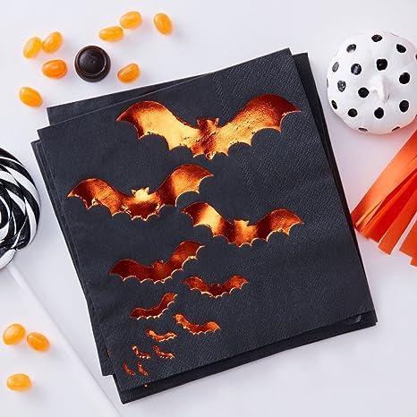 Halloween Decorations Paper Napkins Halloween Party Ideas Fall Decor Orange Foil Bat 6 5 Pk 40