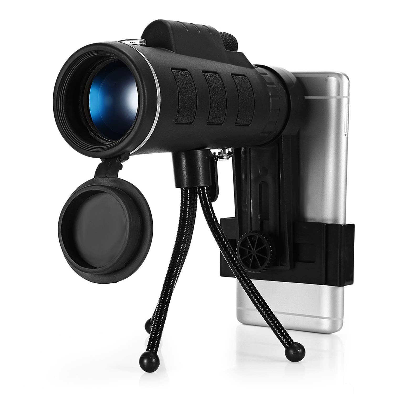 Crystal-heart-store 40X60 Monocular Monocular Telescope Hd Night Vision Prism Scope with Compass Phone Clip Tripod,Black by Crystal-heart-store