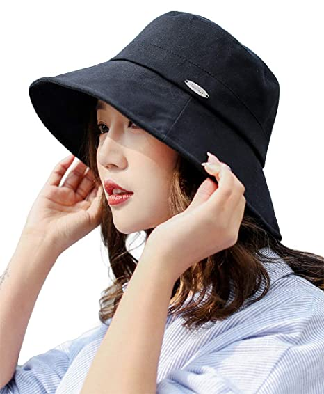 Summer Women Large Head Sun Hat Small Brim Foldable Beach Hat Cotton Black 539a04eceaa