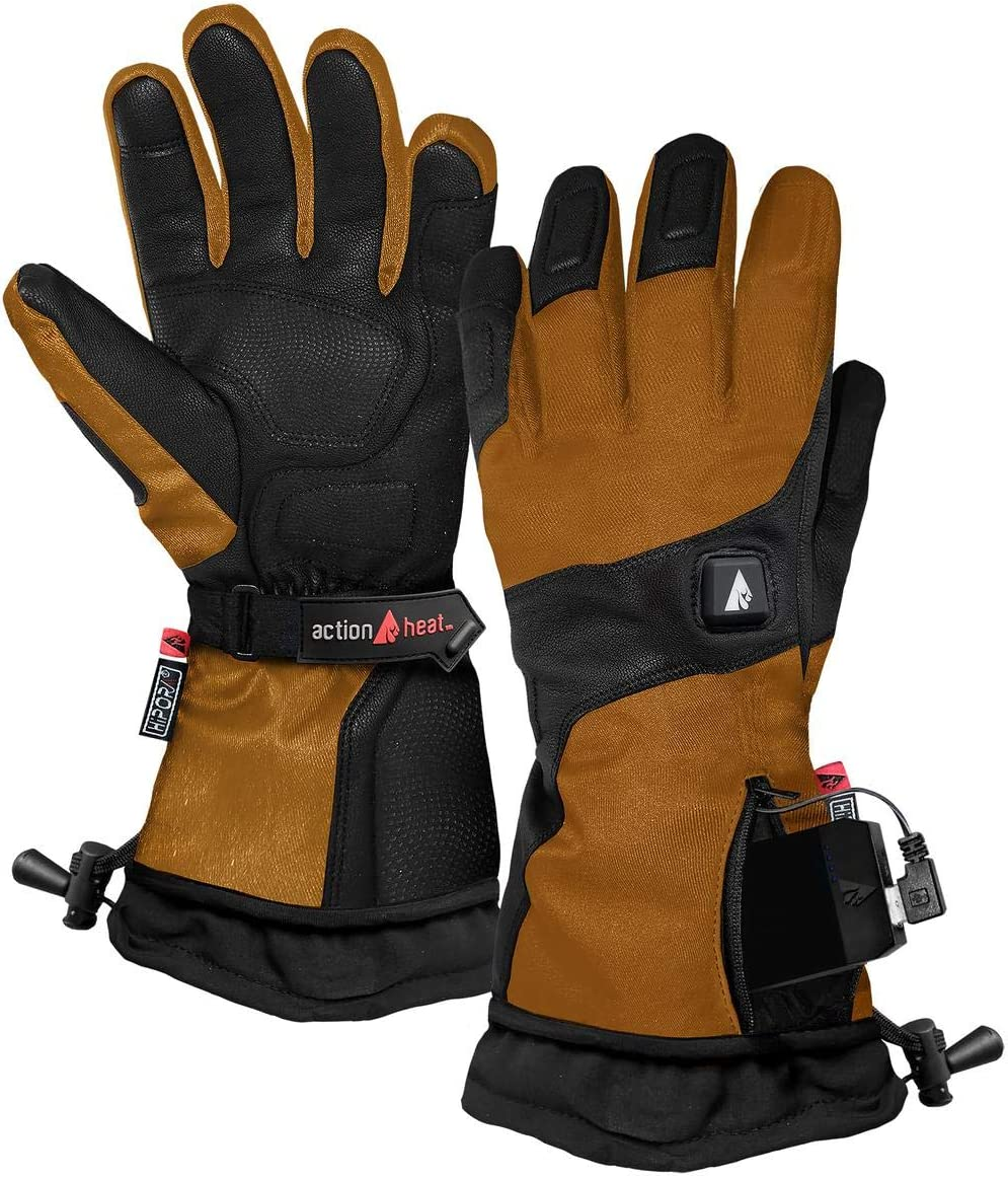 Extended Gauntlet Rechargeable Electric Gloves Premium Electric Gloves w// 3-Heat Settings Touch-Control ActionHeat Battery Heated Gloves for Men