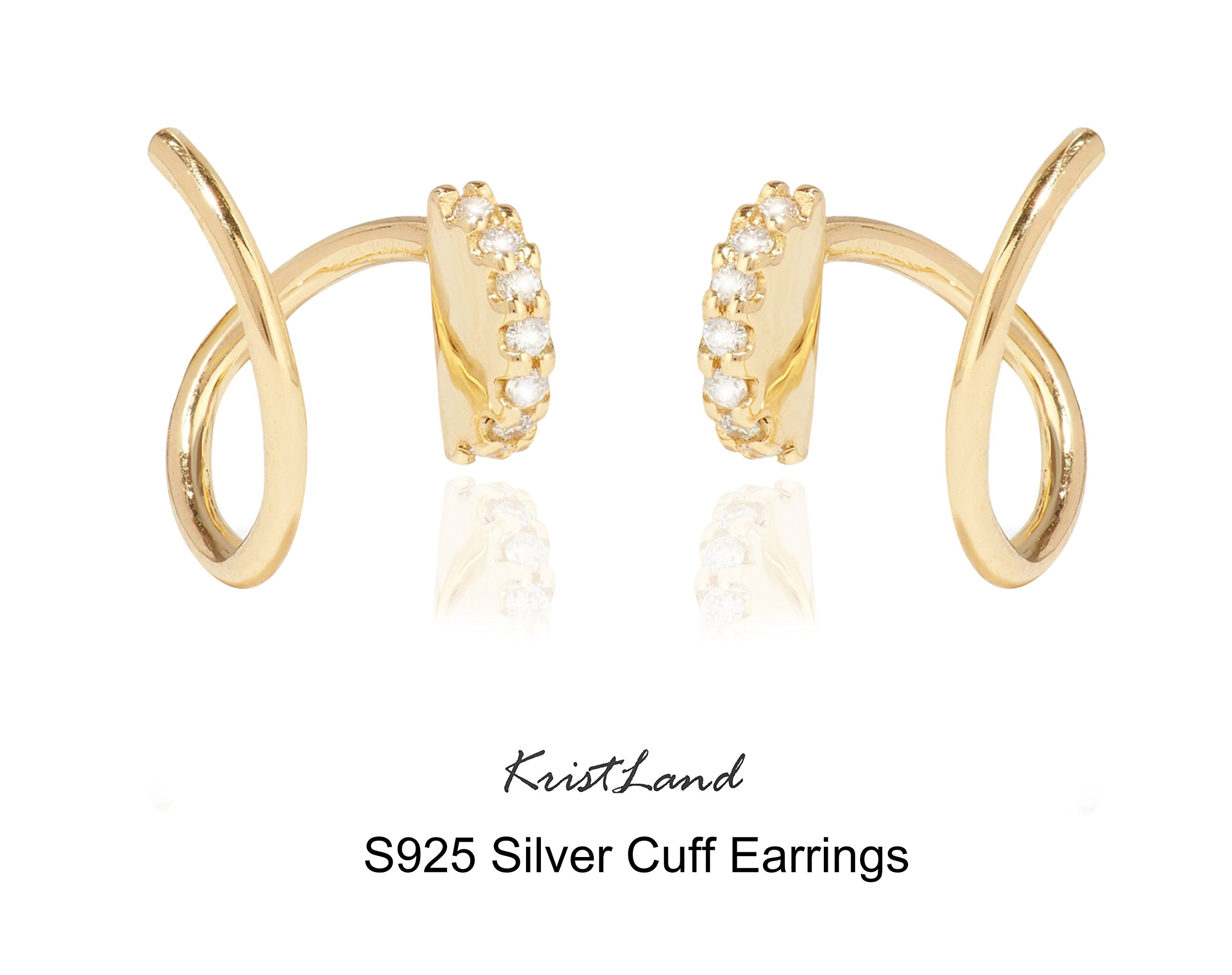 KristLand - S925 Silver 14k Gold Plated Round Hook with Crystals Cuff Wrap Climb Stud Arc Earrings Simple Style Gold Color