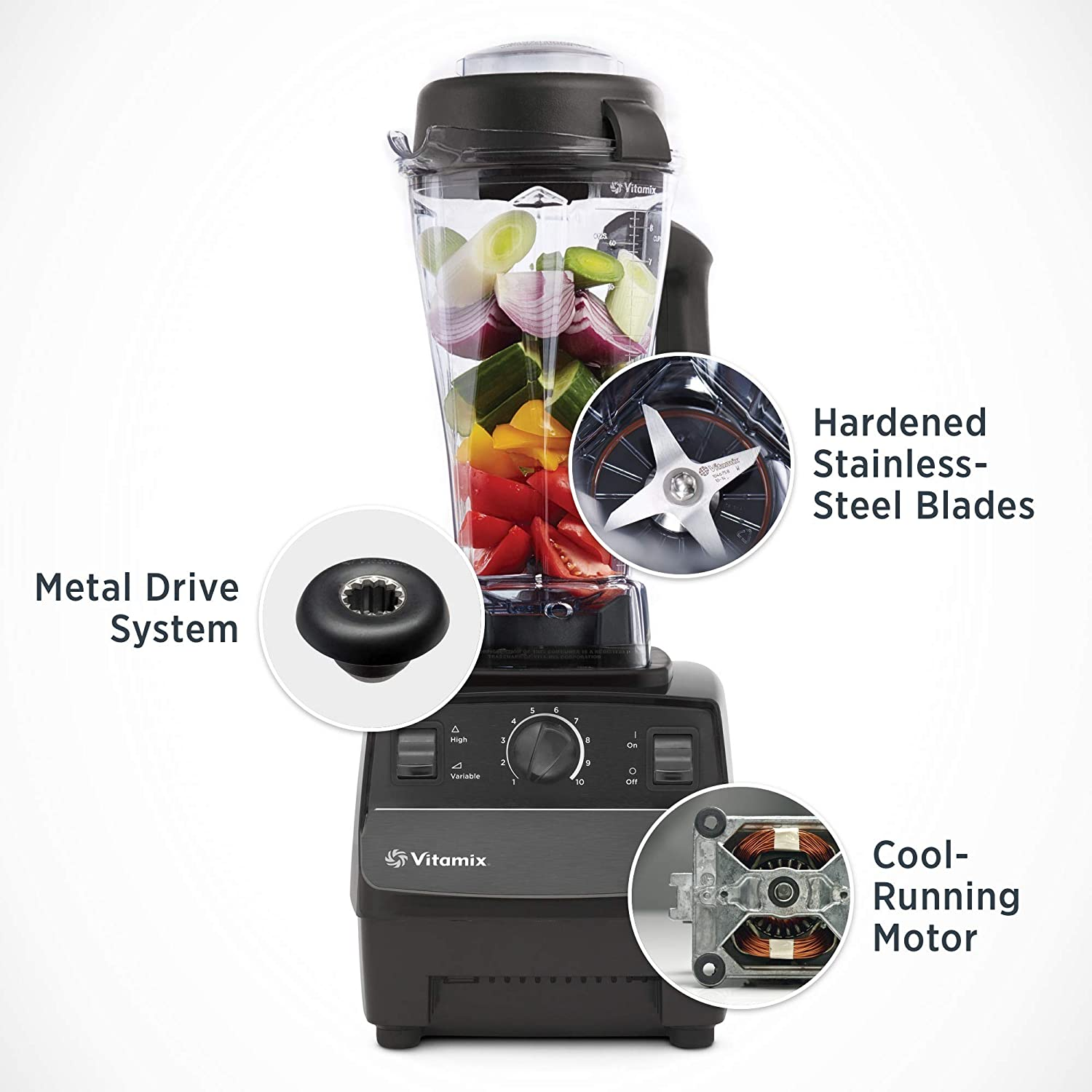 Vitamix 5200 has a metal drive system, hardened stainless-stell blades, and cool-running motor.