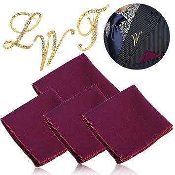 Handkerchief And Brooch Set 4Pcs Fashionable Washable 3Pcs Letter Shape With Rhinestone