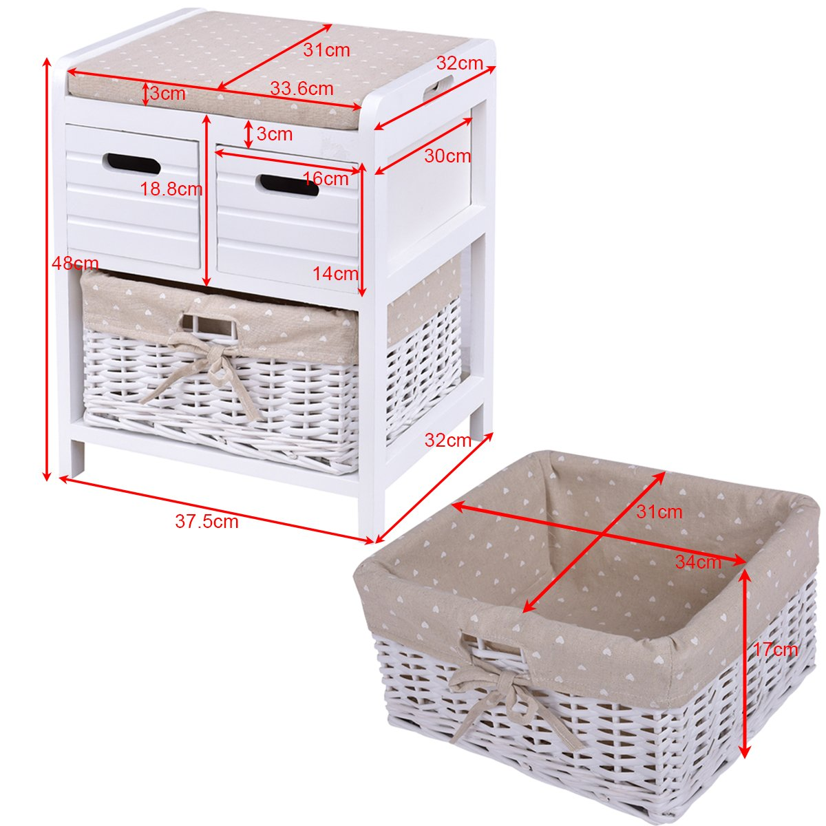 CASART Bedside Table Wooden Bench Drawer Nightstand Storage W//Rattan Basket White