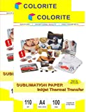 Colorite Sublimation Heat Transfer Paper 90 %+ Transfer Rate A4x2 Pack (200 Sheets) USE SUBLIMATION INKS ONLY!