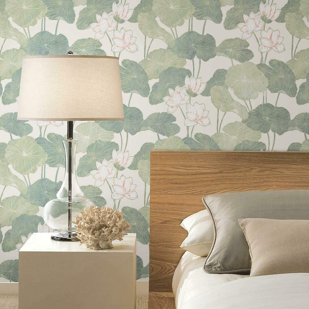 RoomMates Beige and Green Lily Pad Peel and Stick Wallpaper