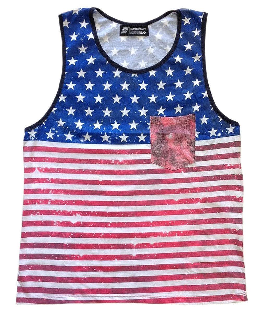 Men/'s Sleeveless Muscle Tee Shirt Vintage American Flag Print