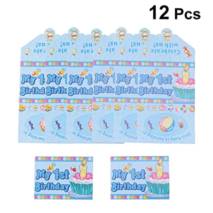Amazon Com Bestoyard 12pcs 1st Birthday Invitation Cards
