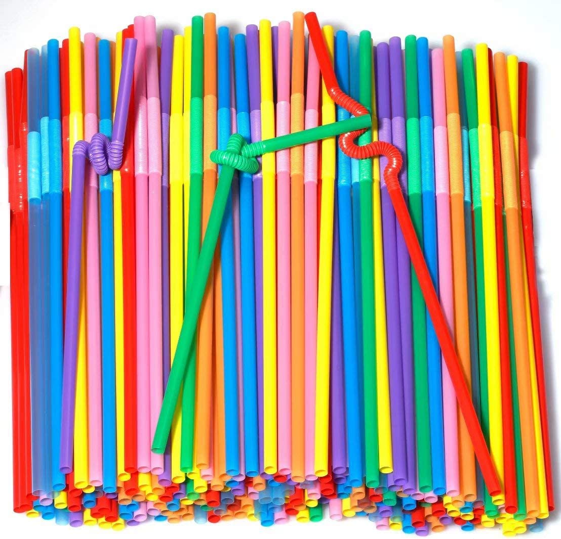 Colorful Extra Long Flexible Drinking Straws Bendy Disposable ...