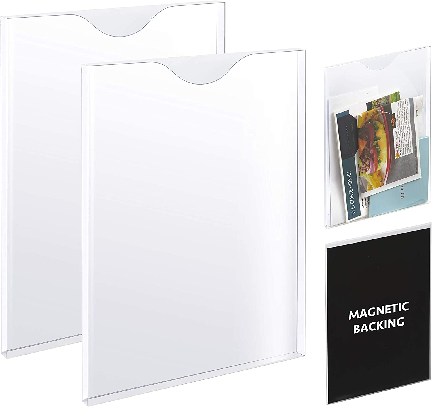 Set of 2 – Clear Vertical Magnetic PVC File Holder with Strong Magnetic Back, Paper Holder and File Organizer, Letter Holder for A4 Size Documents, Good for Whiteboard, Office, Refrigerator, Locker
