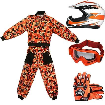 Leopard LEO-X16 Naranja Casco de Motocross para Niños (L 53-54cm) + Gafas + Guantes (L 7cm) + Camo Traje de Motocross para Niños - XXL (12-13 Años)