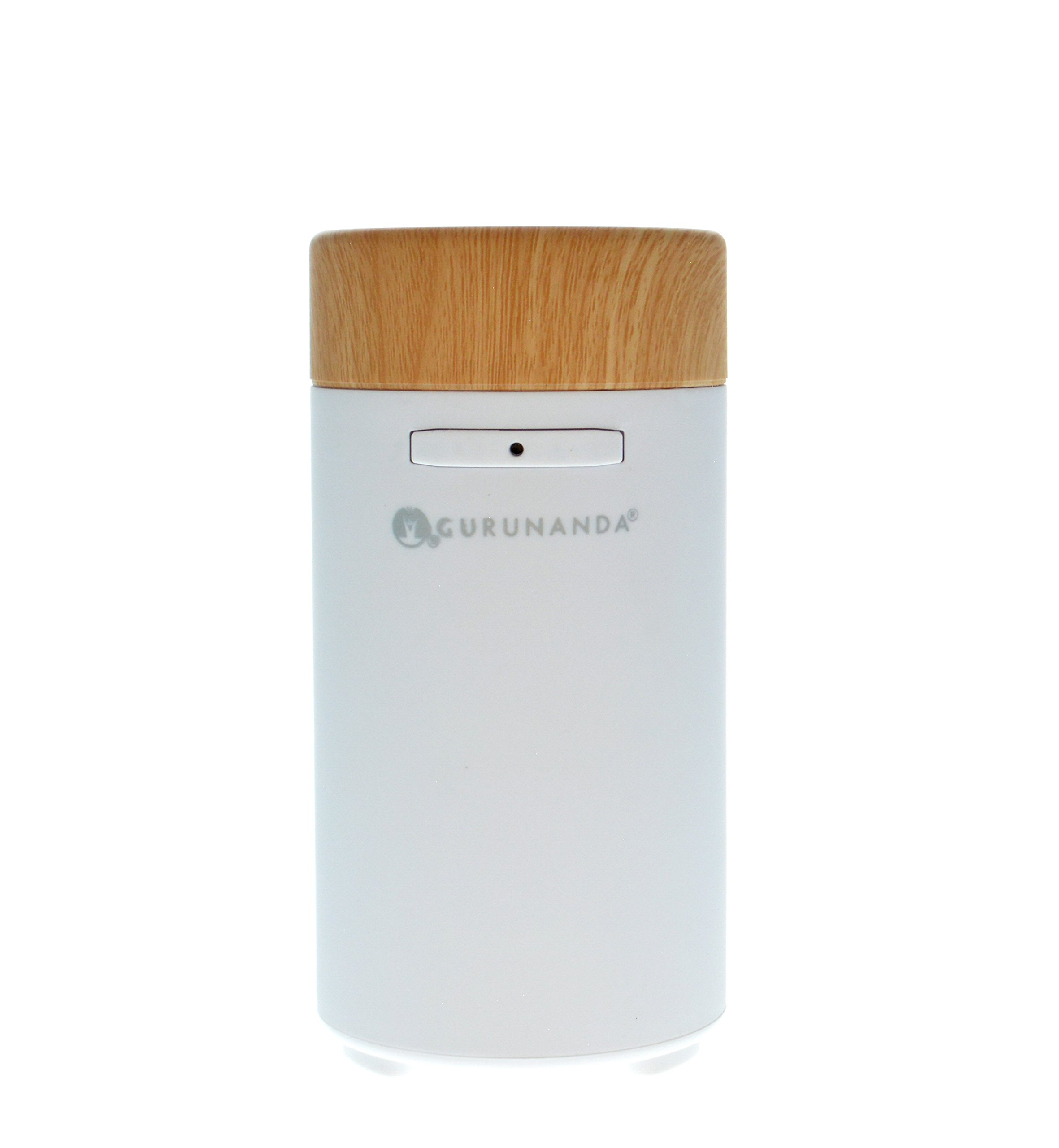 GuruNanda Portable White Essential Oil Diffuser for Car, Home, Office ~ Aromatherapy Ultrasonic Mist Essential Oils Diffusers ~ Travel-Size, Humidifiers No water needed, Fits in Cup Holder!