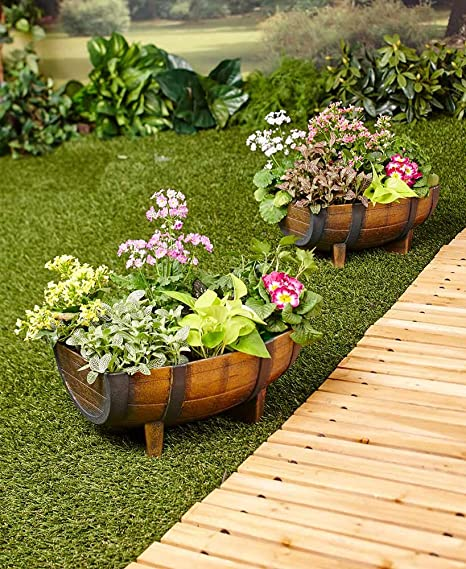 High Quality The Lakeside Collection Set Of 2 Half Barrel Planters
