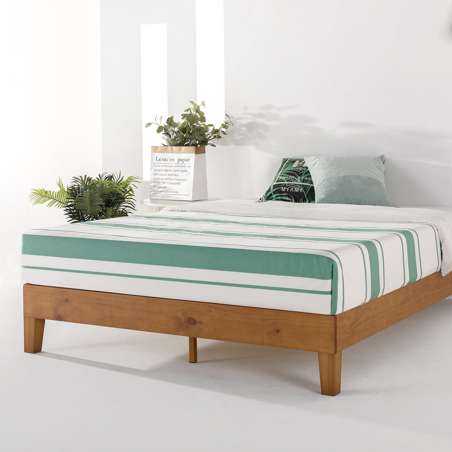 Mellow 12'' Grand Soild Wood Platform Bed Frame w/Wooden Slats (No Box Spring Needed) Queen Natural