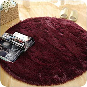 Fluffy Round Rug Carpets for Living Room Decor Faux Fur Rugs Kids Room Long Plush Area Rug,7,120X120cm