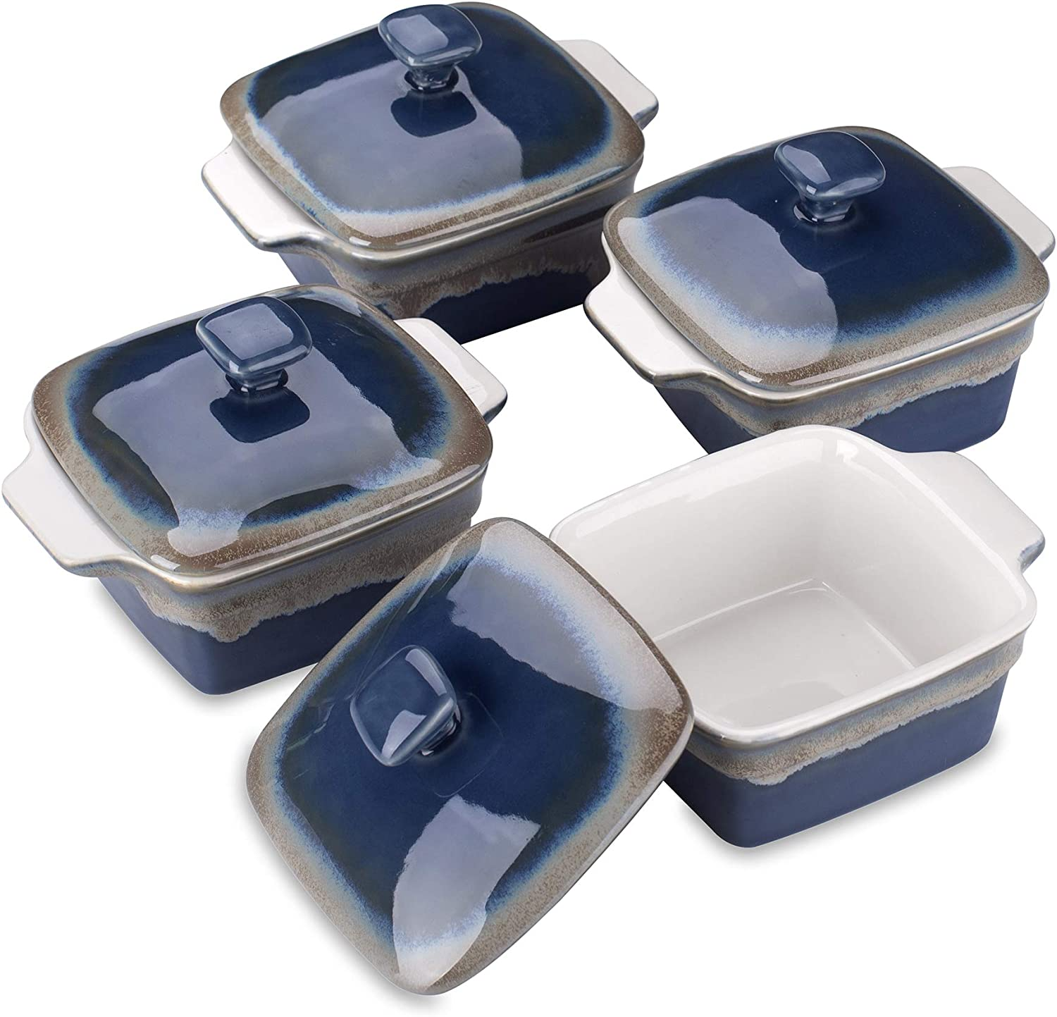 LOVECASA Stoneware Ramekins with Cover for Baking, 9.8 Ounce Souffle Dishes, Covered Square Casserole, Oven Safe Mini Casserole Dish with Lid, Set of 4, Navy and Grey