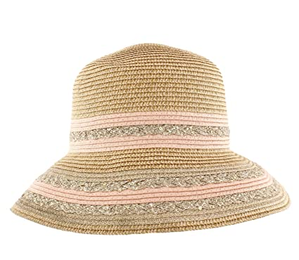 2d5f22b4 The Hat Company Ladies Summer Metallic Finish/Lurex Braid Cloche/Bucket Hat  (Silver/Rose Gold) (Rose Gold): Amazon.co.uk: Clothing